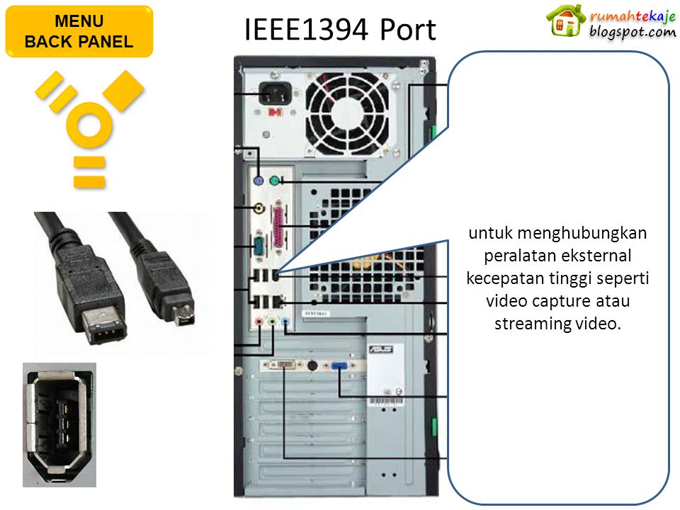 IEEE1394 Port AC Power Plug PS/2 Keyboard Port S/PDIF Out Port Serial Port USB Port Microphone Port Line In Port PS/2 Mouse PortPararel Port IEEE1394
