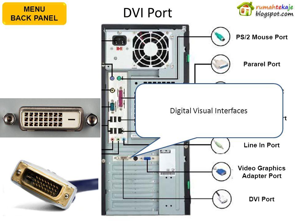 DVI Port AC Power Plug PS/2 Keyboard Port S/PDIF Out Port Serial Port USB Port Microphone Port Line In Port PS/2 Mouse PortPararel Port IEEE1394 Port