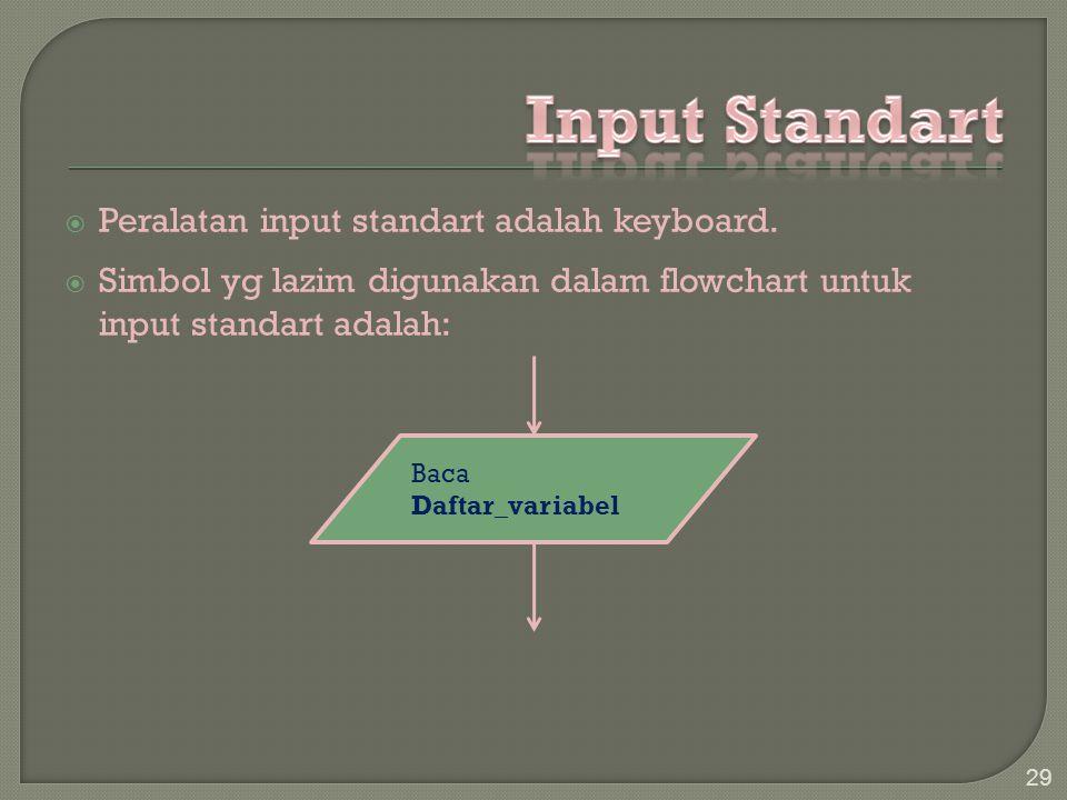  Peralatan input standart adalah keyboard.  Simbol yg lazim digunakan dalam flowchart untuk input standart adalah: 29 Baca Daftar_variabel
