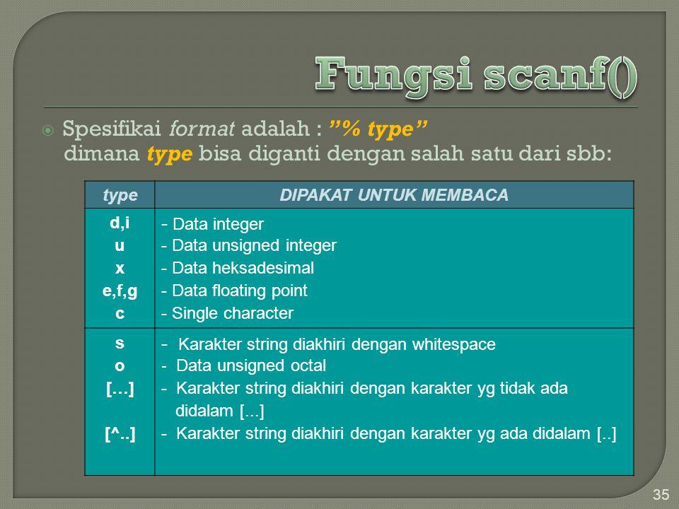 """ Spesifikai format adalah : """"% type"""" dimana type bisa diganti dengan salah satu dari sbb: 35 typeDIPAKAT UNTUK MEMBACA d,i u x e,f,g c - Data integer"""