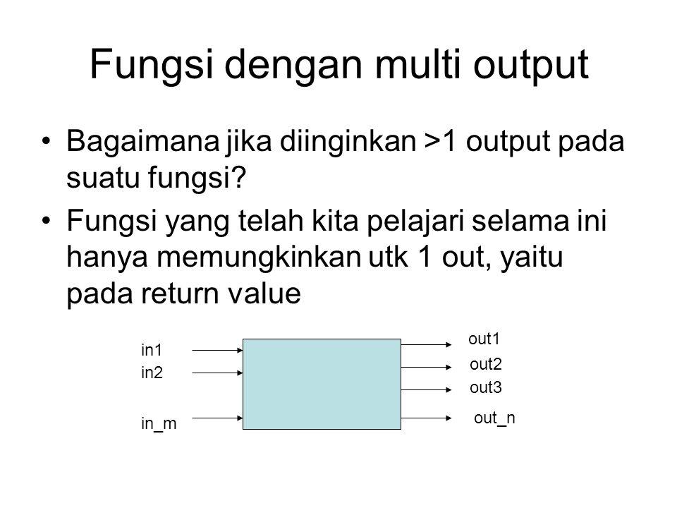 Fungsi dengan multi output Bagaimana jika diinginkan >1 output pada suatu fungsi? Fungsi yang telah kita pelajari selama ini hanya memungkinkan utk 1