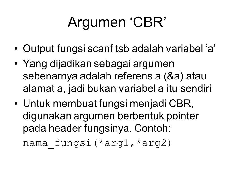 Argumen 'CBR' Output fungsi scanf tsb adalah variabel 'a' Yang dijadikan sebagai argumen sebenarnya adalah referens a (&a) atau alamat a, jadi bukan v