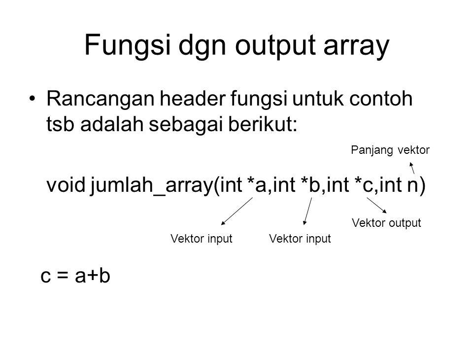 Fungsi dgn output array Rancangan header fungsi untuk contoh tsb adalah sebagai berikut: void jumlah_array(int *a,int *b,int *c,int n) c = a+b Vektor