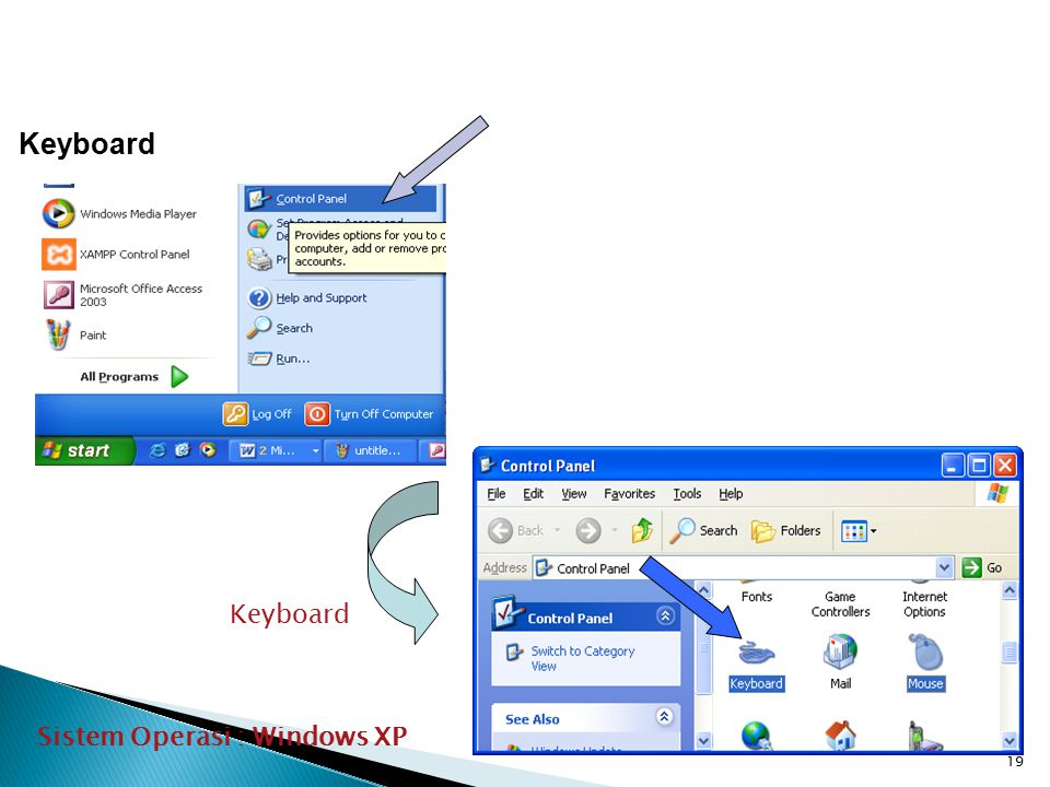 19 Keyboard Sistem Operasi : Windows XP Keyboard