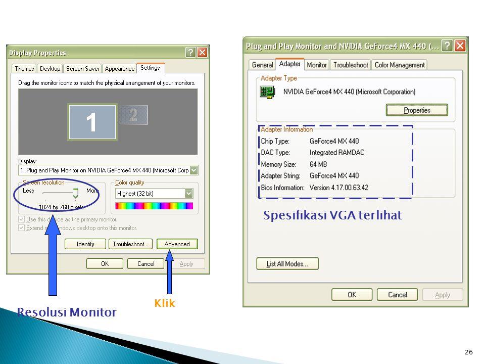 26 Resolusi Monitor Klik Spesifikasi VGA terlihat
