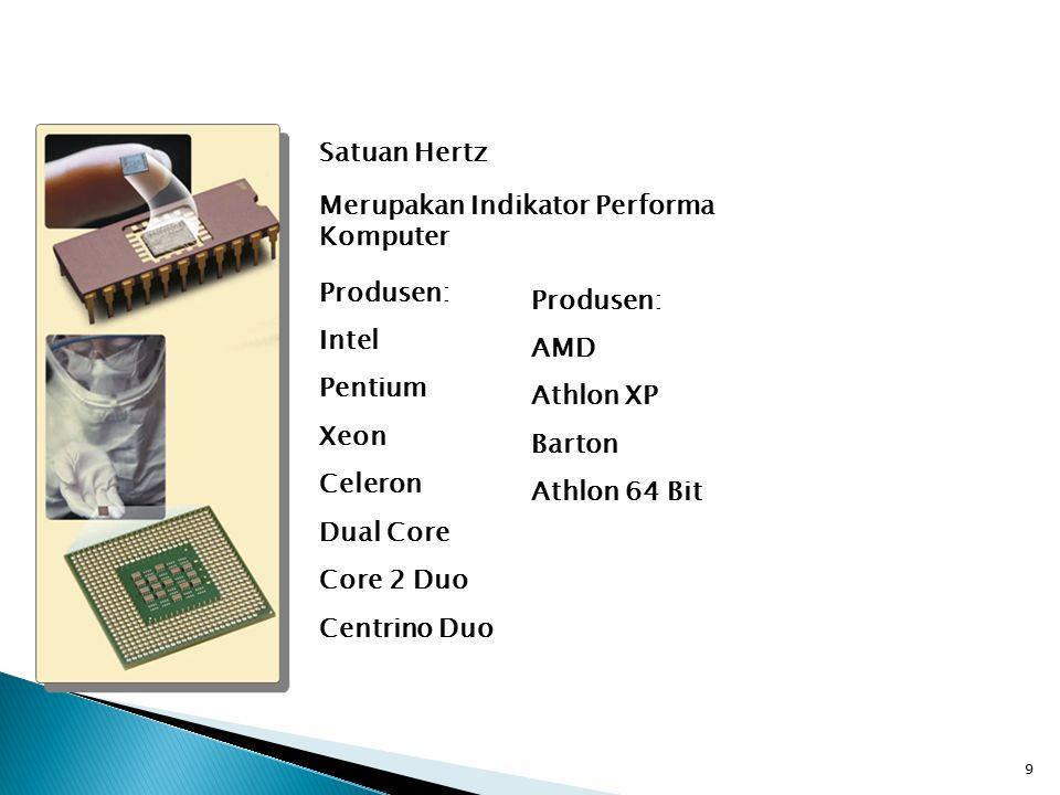 9 Satuan Hertz Merupakan Indikator Performa Komputer Produsen: Intel Pentium Xeon Celeron Dual Core Core 2 Duo Centrino Duo Produsen: AMD Athlon XP Barton Athlon 64 Bit