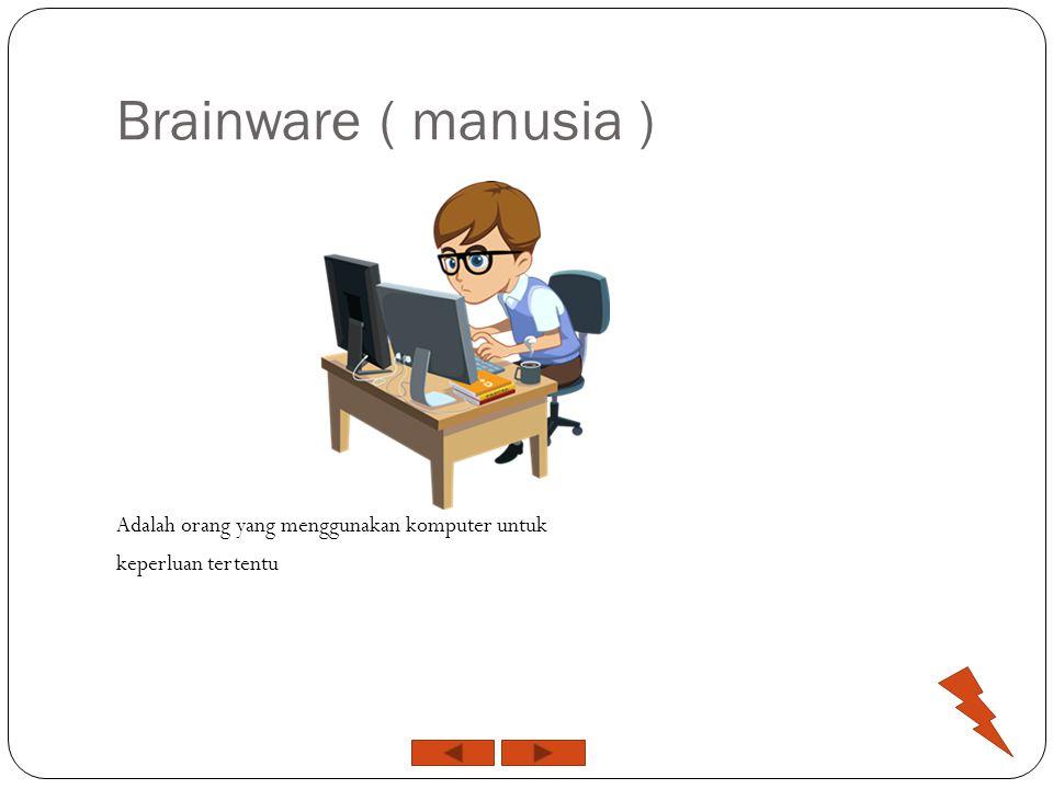 Brainware ( manusia ) Adalah orang yang menggunakan komputer untuk keperluan tertentu