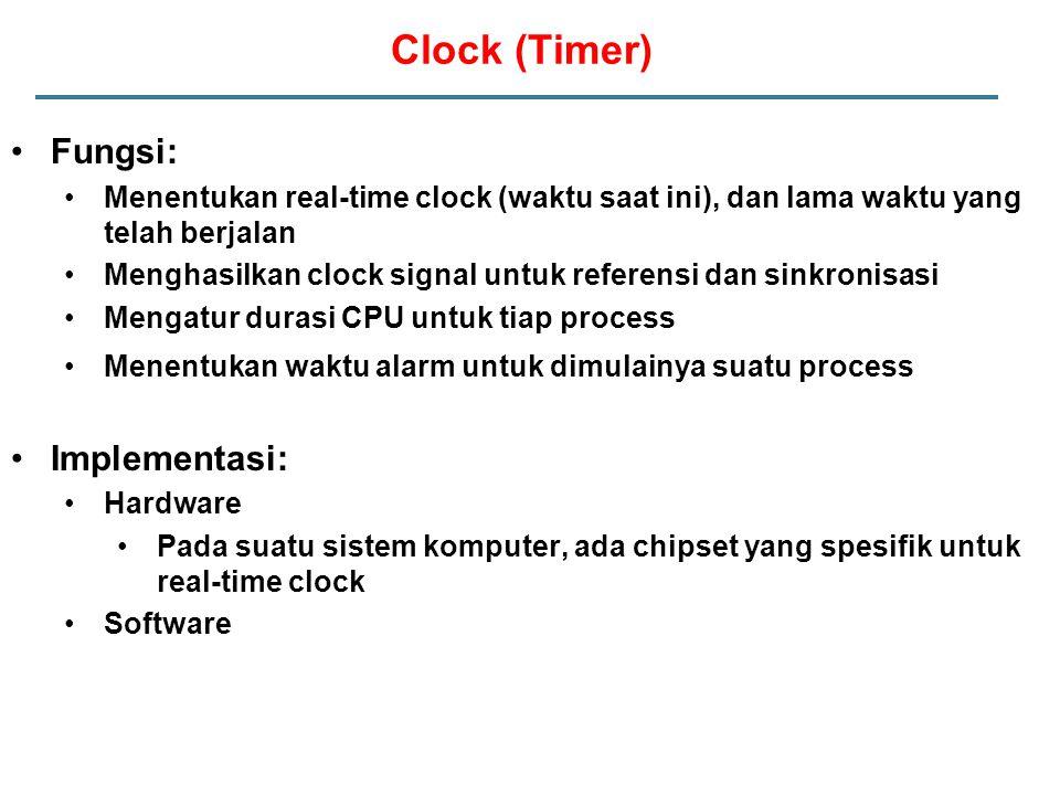 Fungsi: Menentukan real-time clock (waktu saat ini), dan lama waktu yang telah berjalan Menghasilkan clock signal untuk referensi dan sinkronisasi Mengatur durasi CPU untuk tiap process Menentukan waktu alarm untuk dimulainya suatu process Implementasi: Hardware Pada suatu sistem komputer, ada chipset yang spesifik untuk real-time clock Software Clock (Timer)