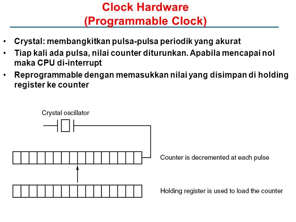 Crystal: membangkitkan pulsa-pulsa periodik yang akurat Tiap kali ada pulsa, nilai counter diturunkan.