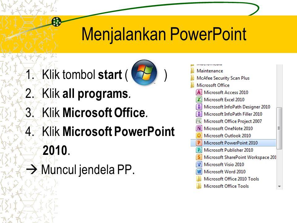 Menjalankan PowerPoint 1.Klik tombol start ( ) 2.Klik all programs.
