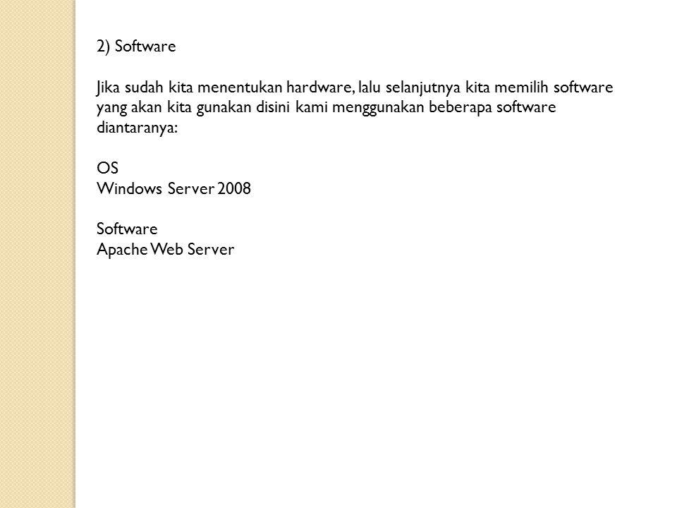2) Software Jika sudah kita menentukan hardware, lalu selanjutnya kita memilih software yang akan kita gunakan disini kami menggunakan beberapa software diantaranya: OS Windows Server 2008 Software Apache Web Server