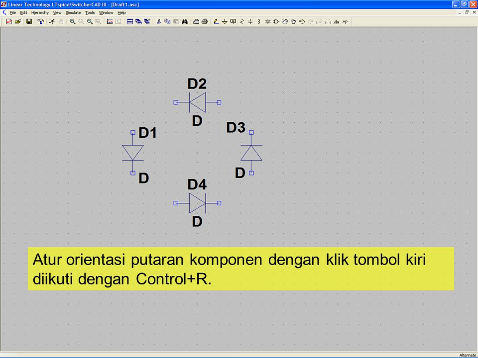 Rotated components Komponen Tercermin diputar dan dicerminkan Atur orientasi muka (cermin) komponen dengan klik tombol kiri diikuti dengan Control+E.