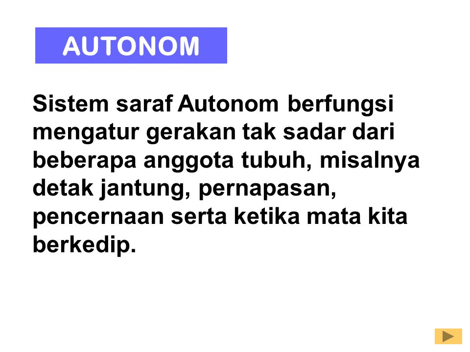 Sistem saraf Autonom berfungsi mengatur gerakan tak sadar dari beberapa anggota tubuh, misalnya detak jantung, pernapasan, pencernaan serta ketika mat
