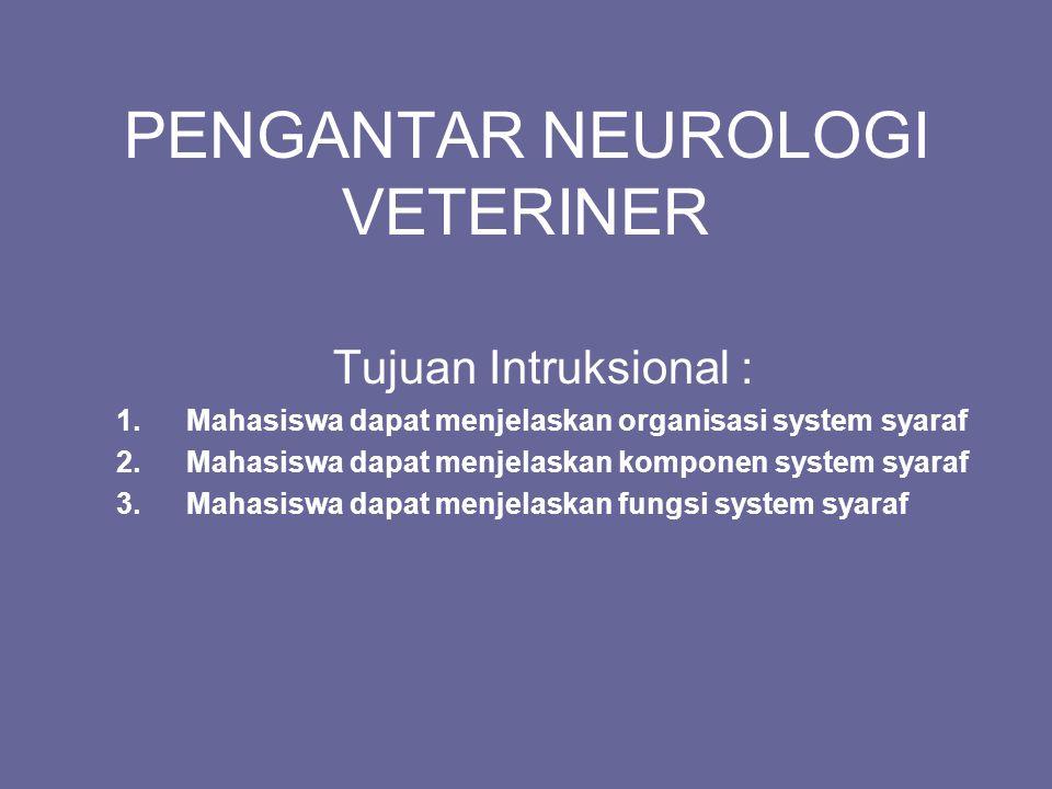 PENGANTAR NEUROLOGI VETERINER Tujuan Intruksional : 1.Mahasiswa dapat menjelaskan organisasi system syaraf 2.Mahasiswa dapat menjelaskan komponen syst