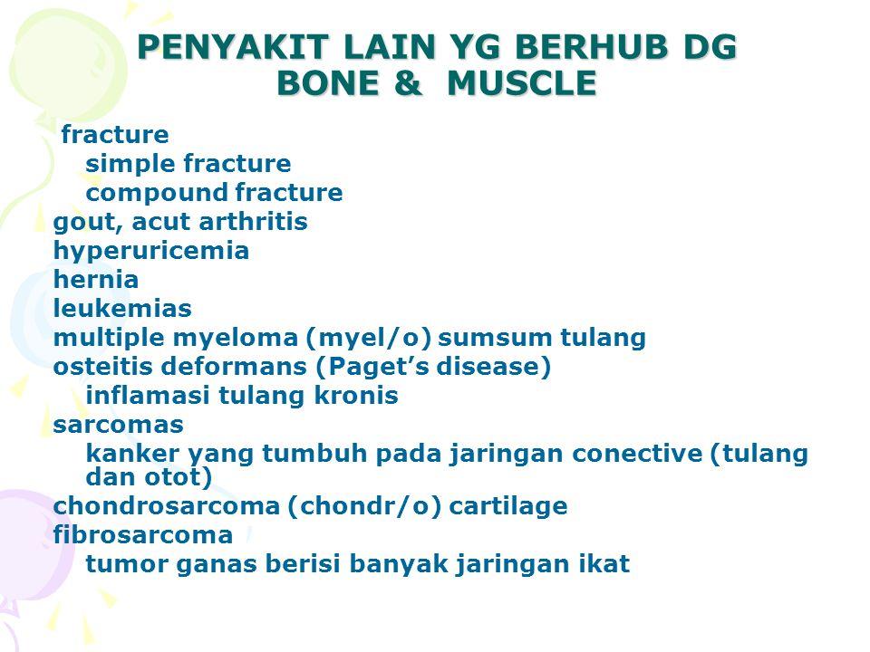 PENYAKIT LAIN YG BERHUB DG BONE & MUSCLE fracture simple fracture compound fracture gout, acut arthritis hyperuricemia hernia leukemias multiple myeloma (myel/o) sumsum tulang osteitis deformans (Paget's disease) inflamasi tulang kronis sarcomas kanker yang tumbuh pada jaringan conective (tulang dan otot) chondrosarcoma (chondr/o) cartilage fibrosarcoma tumor ganas berisi banyak jaringan ikat