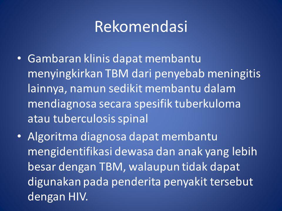 Gambaran klinis dapat membantu menyingkirkan TBM dari penyebab meningitis lainnya, namun sedikit membantu dalam mendiagnosa secara spesifik tuberkuloma atau tuberculosis spinal Algoritma diagnosa dapat membantu mengidentifikasi dewasa dan anak yang lebih besar dengan TBM, walaupun tidak dapat digunakan pada penderita penyakit tersebut dengan HIV.