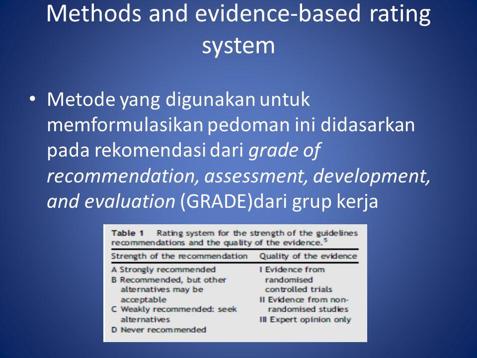 Methods and evidence-based rating system Metode yang digunakan untuk memformulasikan pedoman ini didasarkan pada rekomendasi dari grade of recommendation, assessment, development, and evaluation (GRADE)dari grup kerja