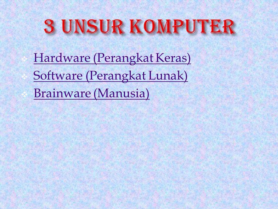  Hardware (Perangkat Keras) Hardware (Perangkat Keras)  Software (Perangkat Lunak) Software (Perangkat Lunak)  Brainware (Manusia) Brainware (Manusia)