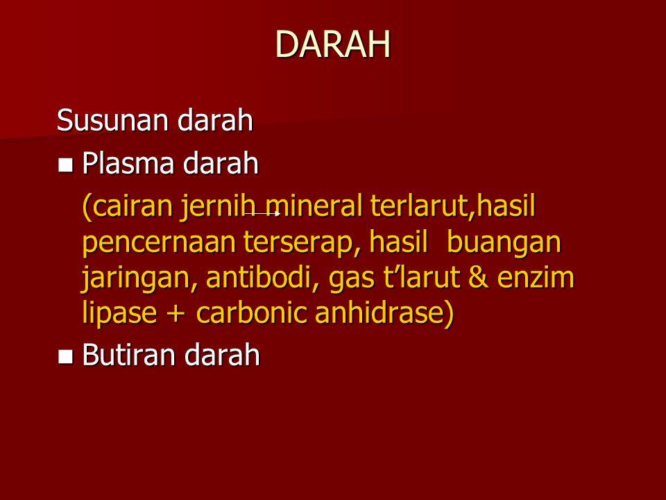 DARAH Susunan darah Plasma darah Plasma darah (cairan jernih mineral terlarut,hasil pencernaan terserap, hasil buangan jaringan, antibodi, gas t'larut