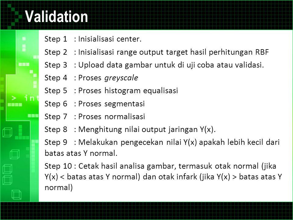Validation Step 1: Inisialisasi center. Step 2: Inisialisasi range output target hasil perhitungan RBF Step 3: Upload data gambar untuk di uji coba at