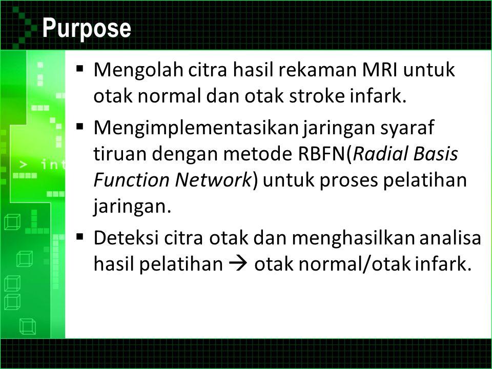 Purpose  Mengolah citra hasil rekaman MRI untuk otak normal dan otak stroke infark.  Mengimplementasikan jaringan syaraf tiruan dengan metode RBFN(R
