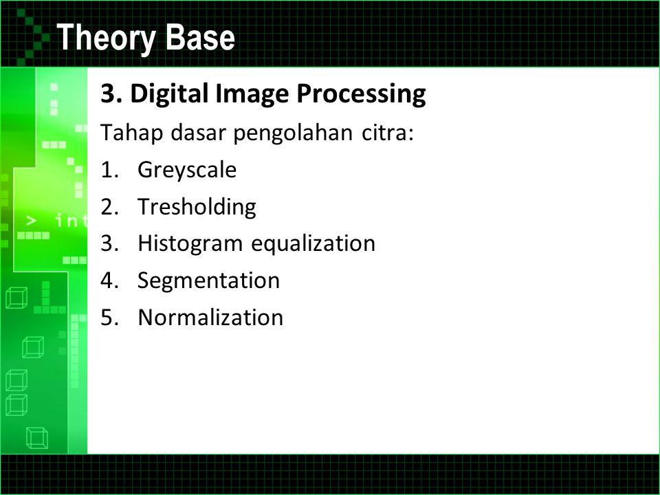 Theory Base 3. Digital Image Processing Tahap dasar pengolahan citra: 1.Greyscale 2.Tresholding 3.Histogram equalization 4.Segmentation 5.Normalizatio