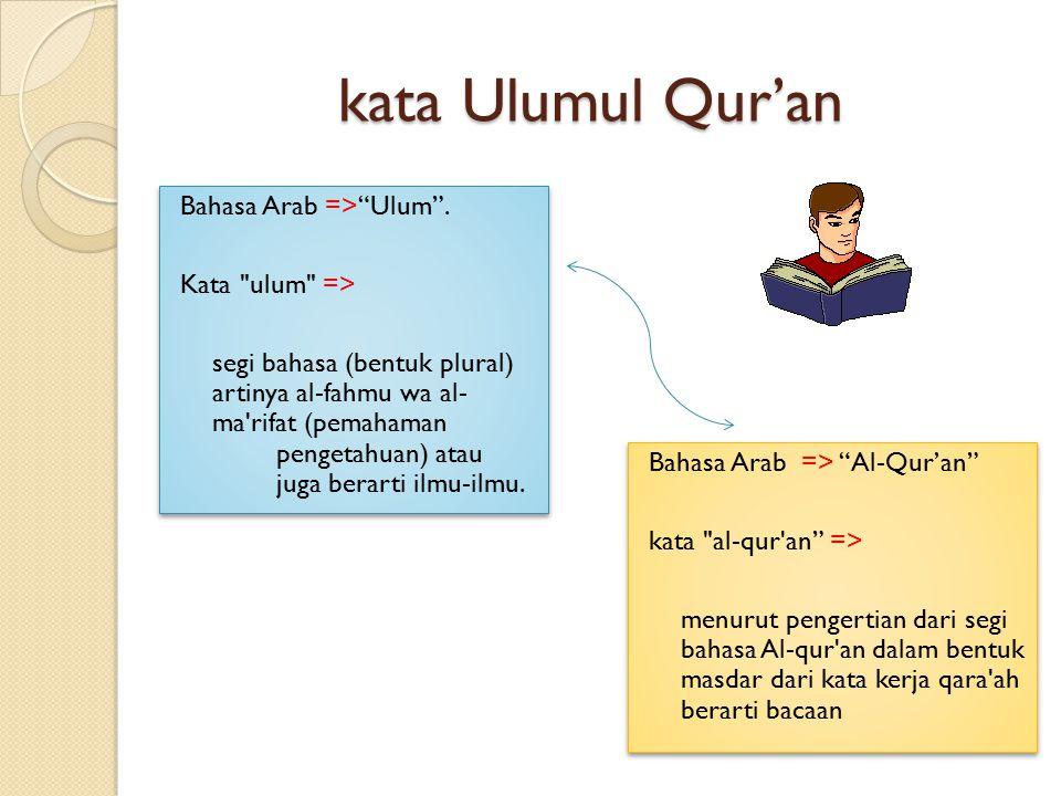 "kata Ulumul Qur'an Bahasa Arab =>""Ulum"". Kata"