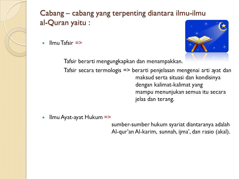 Cabang – cabang yang terpenting diantara ilmu-ilmu al-Quran yaitu : Ilmu Tafsir => Tafsir berarti mengungkapkan dan menampakkan. Tafsir secara termolo