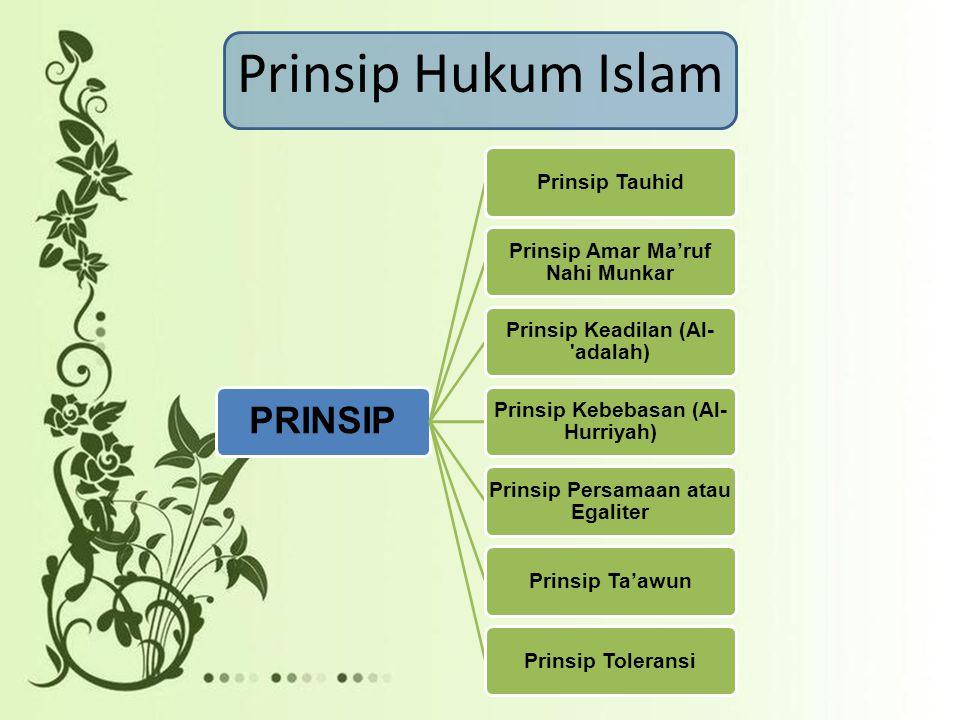 Prinsip Hukum Islam PRINSIP Prinsip Tauhid Prinsip Amar Ma'ruf Nahi Munkar Prinsip Keadilan (Al- adalah) Prinsip Kebebasan (Al- Hurriyah) Prinsip Persamaan atau Egaliter Prinsip Ta'awunPrinsip Toleransi