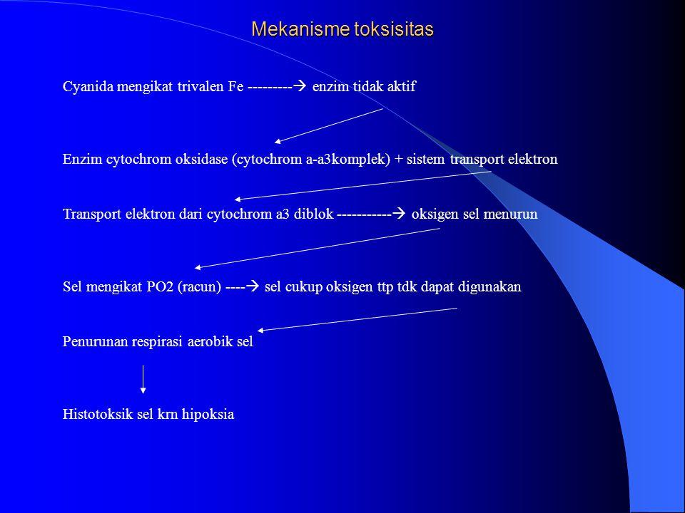 Mekanisme toksisitas Cyanida mengikat trivalen Fe ---------  enzim tidak aktif Enzim cytochrom oksidase (cytochrom a-a3komplek) + sistem transport el