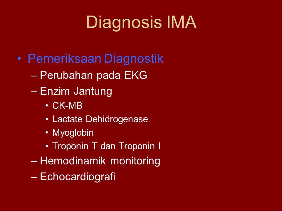Diagnosis IMA Pemeriksaan Diagnostik –Perubahan pada EKG –Enzim Jantung CK-MB Lactate Dehidrogenase Myoglobin Troponin T dan Troponin I –Hemodinamik m