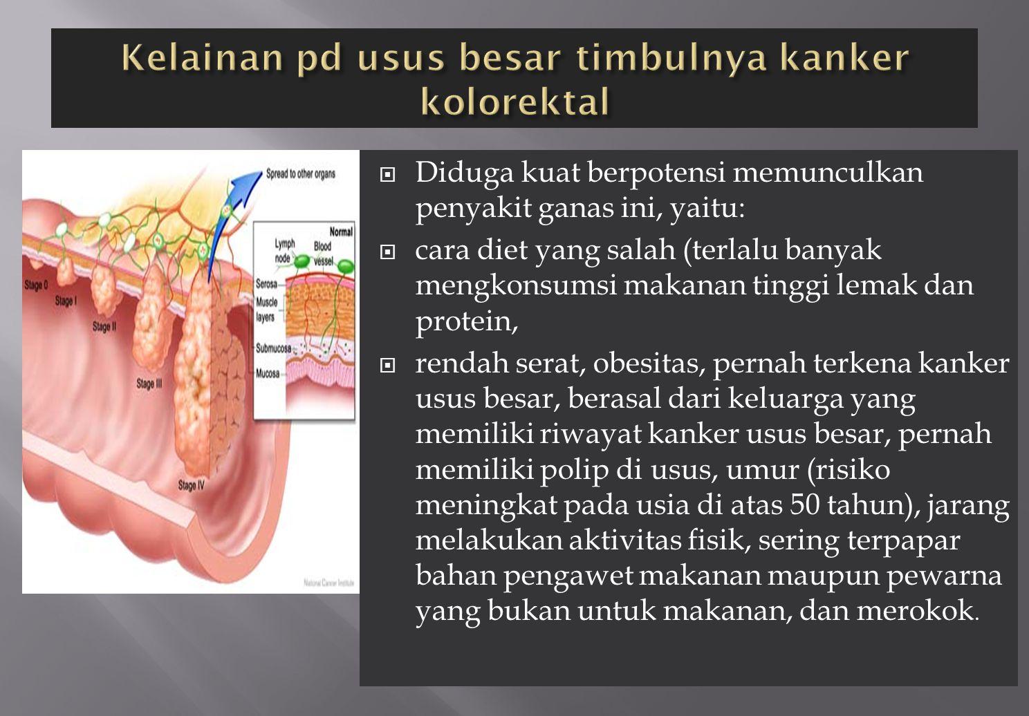  Diduga kuat berpotensi memunculkan penyakit ganas ini, yaitu:  cara diet yang salah (terlalu banyak mengkonsumsi makanan tinggi lemak dan protein,