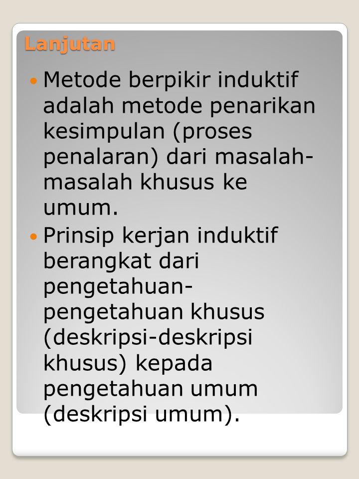 Lanjutan Metode berpikir induktif adalah metode penarikan kesimpulan (proses penalaran) dari masalah- masalah khusus ke umum.