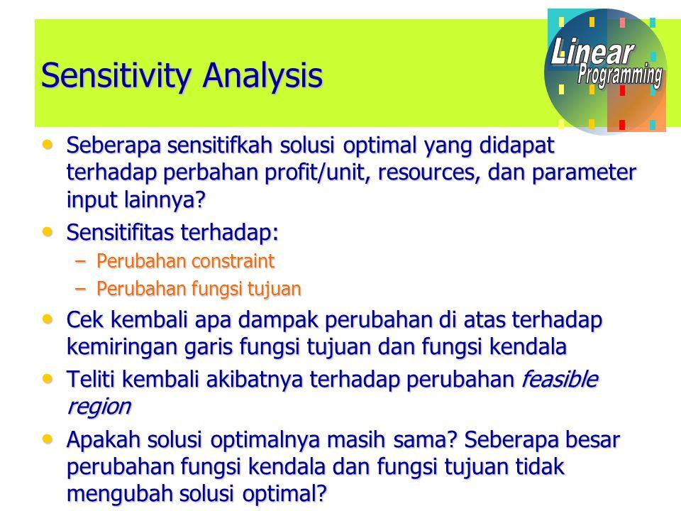 Sensitivity Analysis Seberapa sensitifkah solusi optimal yang didapat terhadap perbahan profit/unit, resources, dan parameter input lainnya.