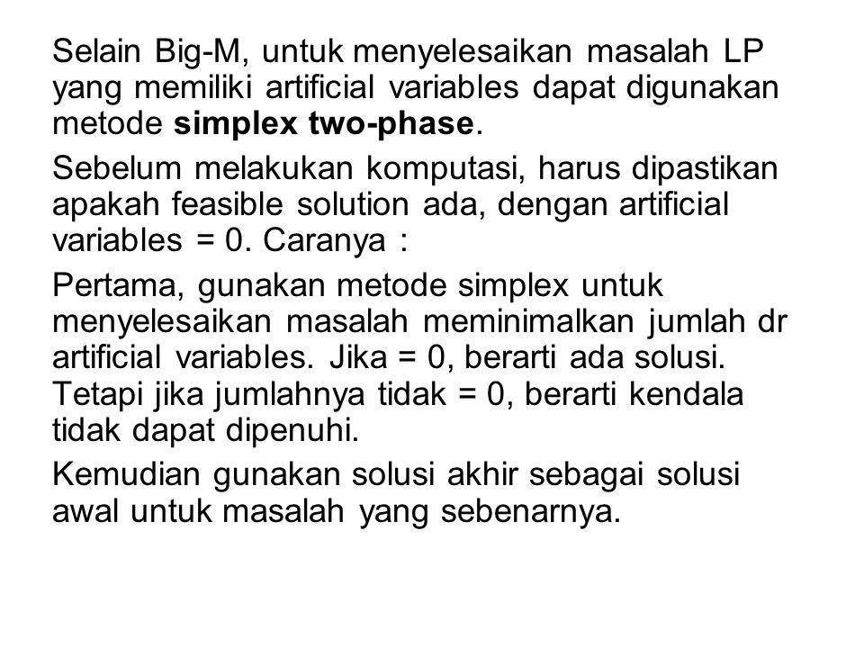 Selain Big-M, untuk menyelesaikan masalah LP yang memiliki artificial variables dapat digunakan metode simplex two-phase. Sebelum melakukan komputasi,