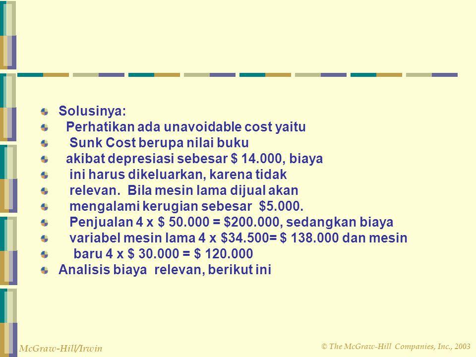 © The McGraw-Hill Companies, Inc., 2003 McGraw-Hill/Irwin Solusinya: Perhatikan ada unavoidable cost yaitu Sunk Cost berupa nilai buku akibat depresia