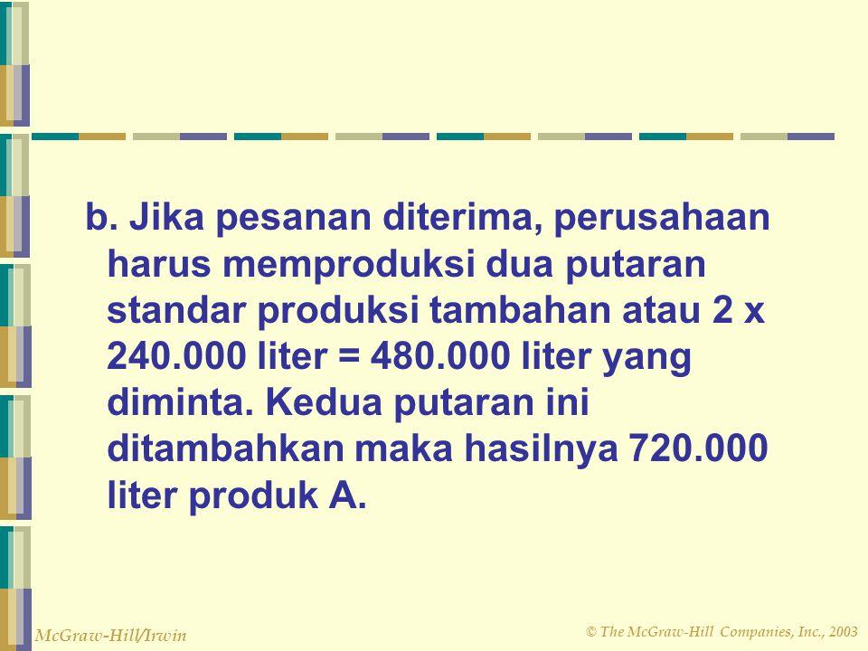 © The McGraw-Hill Companies, Inc., 2003 McGraw-Hill/Irwin b. Jika pesanan diterima, perusahaan harus memproduksi dua putaran standar produksi tambahan