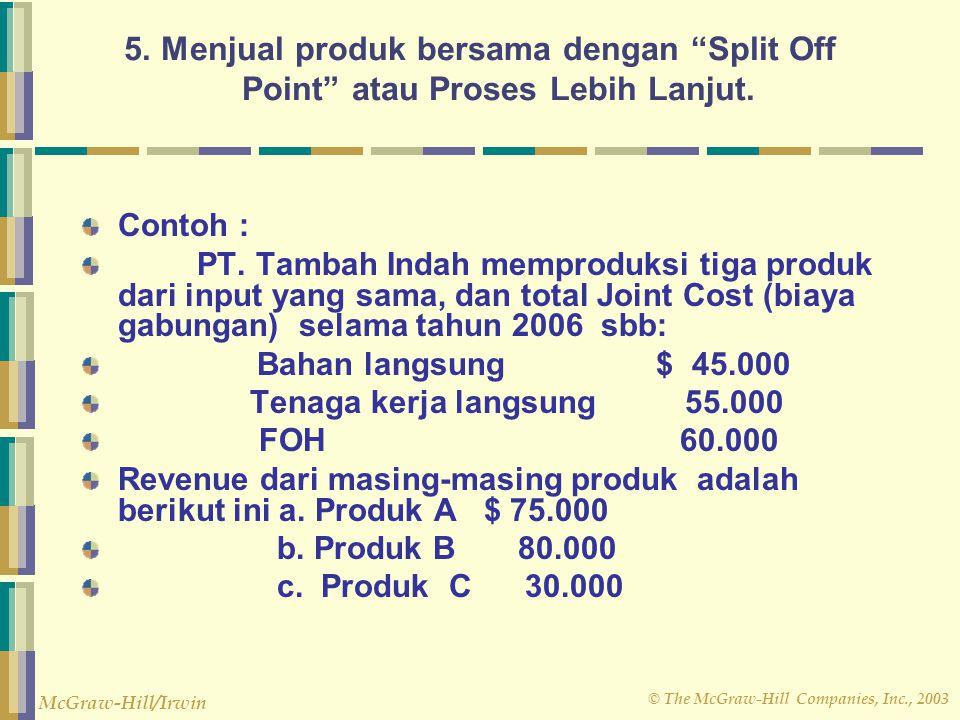 "© The McGraw-Hill Companies, Inc., 2003 McGraw-Hill/Irwin 5. Menjual produk bersama dengan ""Split Off Point"" atau Proses Lebih Lanjut. Contoh : PT. Ta"