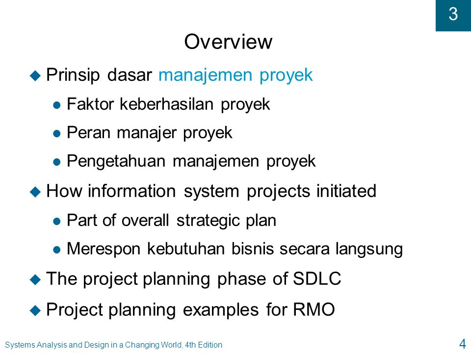 3 Systems Analysis and Design in a Changing World, 4th Edition 15 Project Management and SDLC Tasks for an Adaptive Project (Figure 3-4)