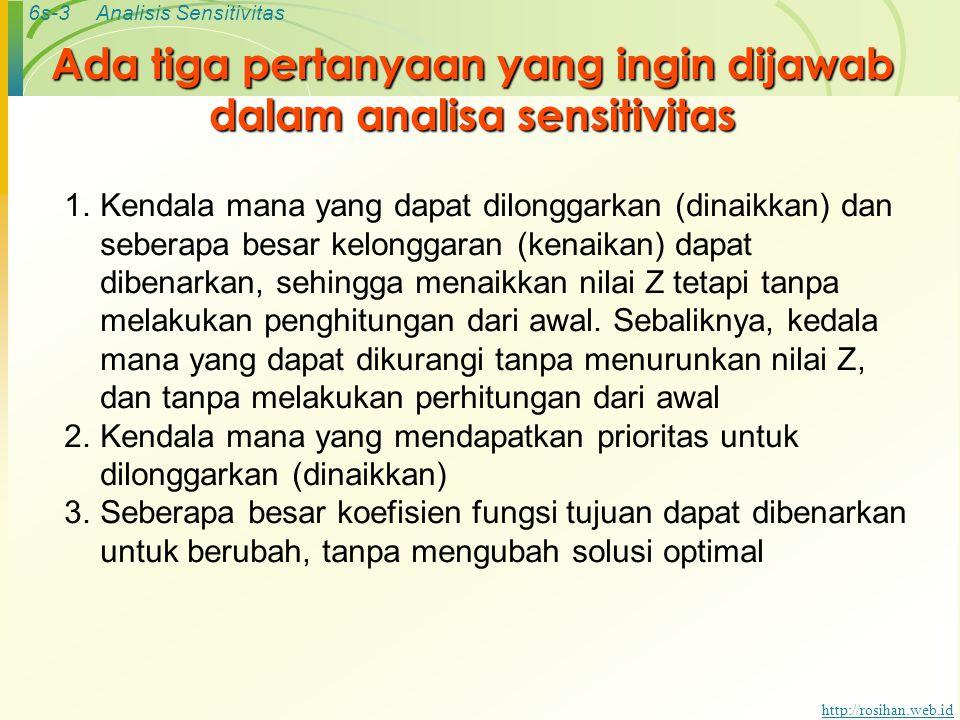 6s-3Analisis Sensitivitas http://rosihan.web.id Ada tiga pertanyaan yang ingin dijawab dalam analisa sensitivitas 1.Kendala mana yang dapat dilonggark