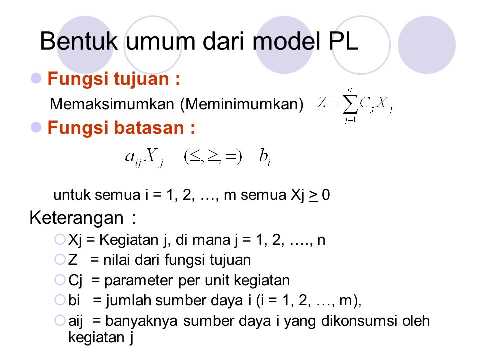 Bentuk umum dari model PL Fungsi tujuan : Memaksimumkan (Meminimumkan) Fungsi batasan : untuk semua i = 1, 2, …, m semua Xj > 0 Keterangan :  Xj = Ke