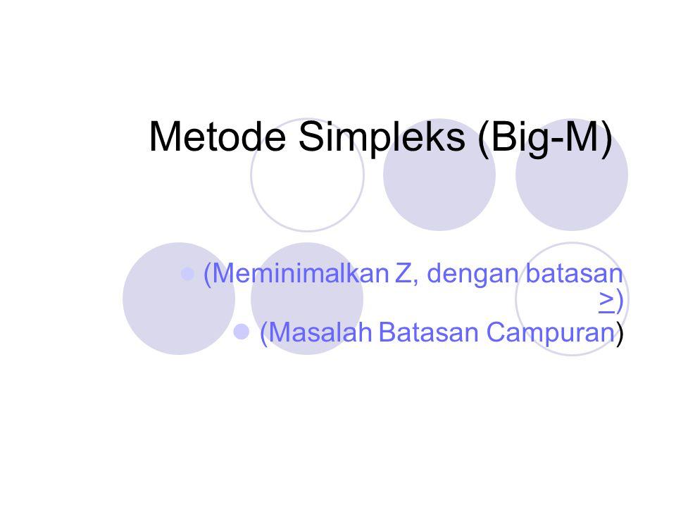 (Meminimalkan Z, dengan batasan >) (Masalah Batasan Campuran) Metode Simpleks (Big-M)