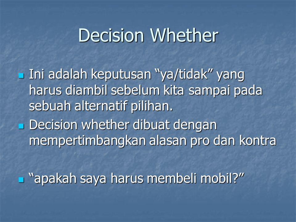 """Decision Whether Ini adalah keputusan """"ya/tidak"""" yang harus diambil sebelum kita sampai pada sebuah alternatif pilihan. Ini adalah keputusan """"ya/tidak"""