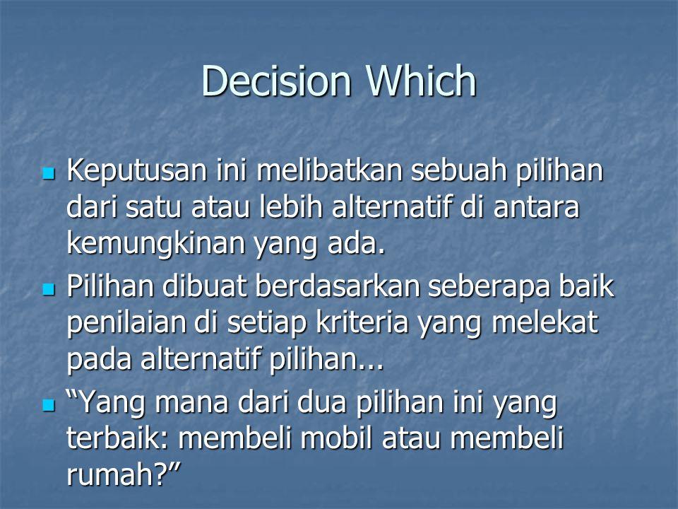 Decision Which Keputusan ini melibatkan sebuah pilihan dari satu atau lebih alternatif di antara kemungkinan yang ada. Keputusan ini melibatkan sebuah