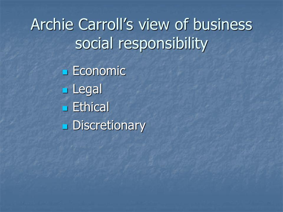 Archie Carroll's view of business social responsibility Economic Economic Legal Legal Ethical Ethical Discretionary Discretionary