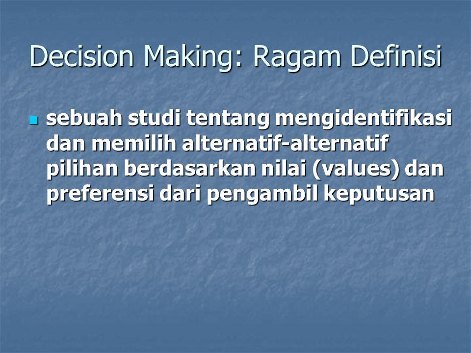 Decision Making: Ragam Definisi sebuah studi tentang mengidentifikasi dan memilih alternatif-alternatif pilihan berdasarkan nilai (values) dan prefere