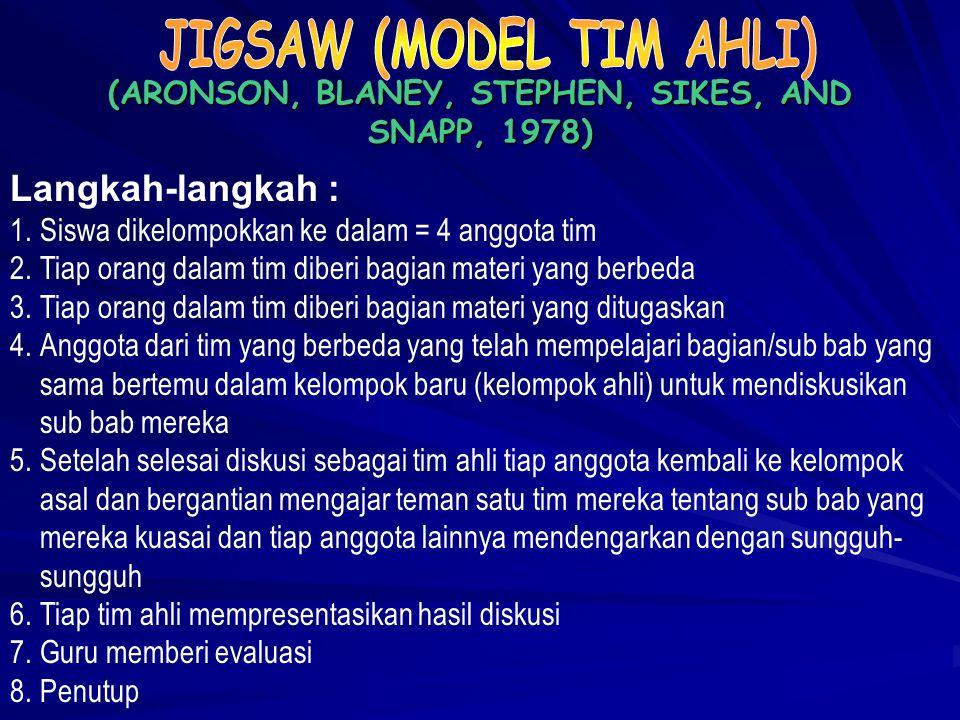 TIM SISWA KELOMPOK PRESTASI (SLAVIN, 1995) Langkah-langkah : 1.Membentuk kelompok yang anggotanya = 4 orang secara heterogen (campuran menurut prestas
