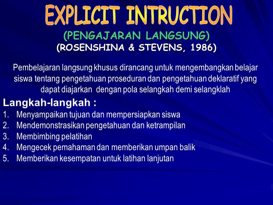 Langkah-langkah : 1.Guru menyampaikan kompetensi yang ingin dicapai 2.Guru mendemonstrasikan/menyajikan materi 3.Memberikan kesempatan siswa tanya jaw