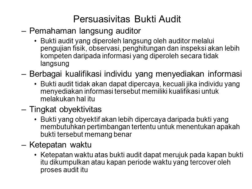 Persuasivitas Bukti Audit Kecukupan –Ditentukan oleh kuantitas bukti yang diperoleh –Diukur dengan ukuran sampel yang dipilih oleh auditor –Faktor yang mempengaruhi kecukupan ukuran sampel : Ekspektasi auditor atas kemungkinan salah saji Efektivitas sari pengendalian intern klien Efek gabungan –Terdapat hubungan langsung antara keempat bukti audit dan dua kualitas yang menentukan persuasivitas bukti audit (lihat Tabel 7-2) Persuasivitas dan Biaya –Dipertimbangkan untuk membuat berbagai keputusan tentang bukti audit