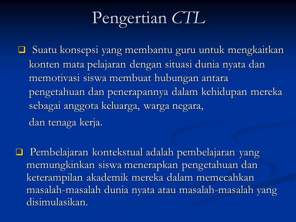 Pengertian CTL  Suatu konsepsi yang membantu guru untuk mengkaitkan konten mata pelajaran dengan situasi dunia nyata dan memotivasi siswa membuat hubungan antara pengetahuan dan penerapannya dalam kehidupan mereka sebagai anggota keluarga, warga negara, dan tenaga kerja.
